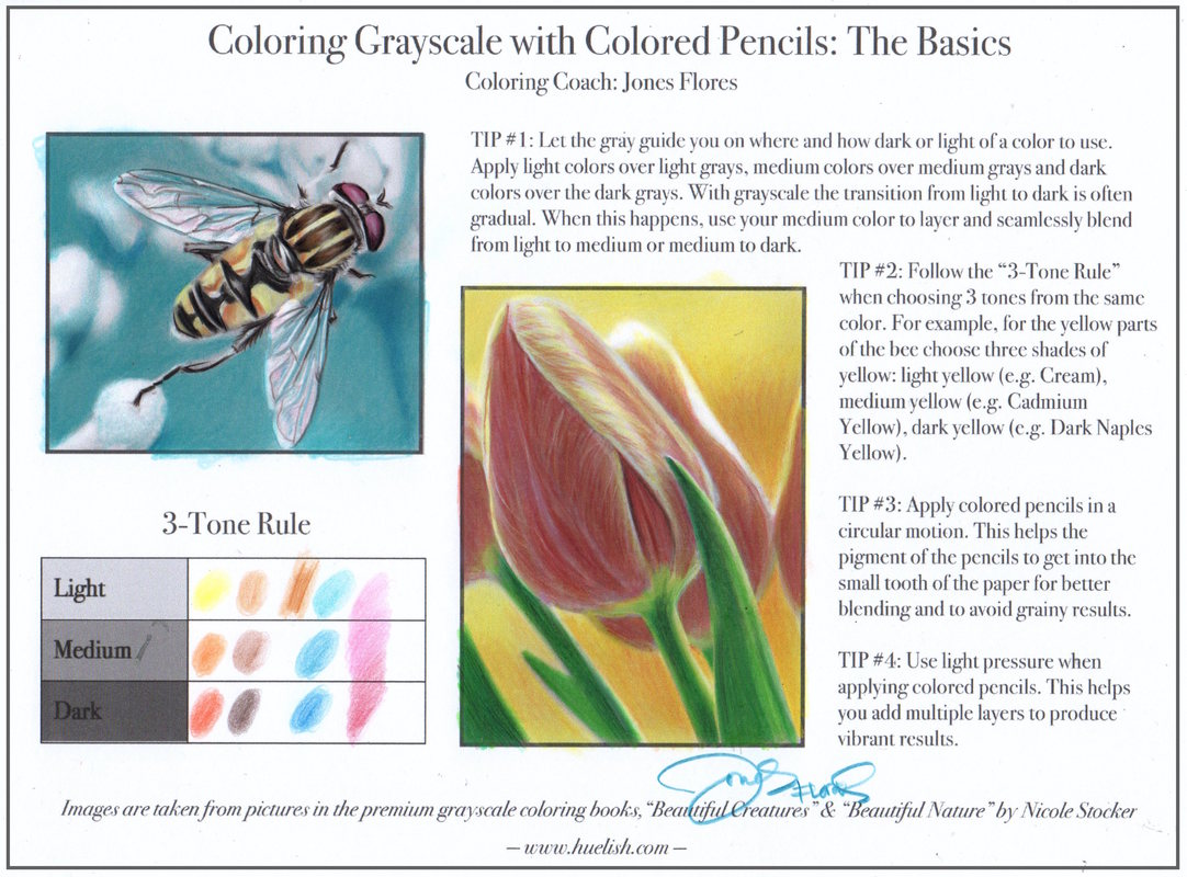 How to Color Grayscale with Colored Pencils: the Basics - Huelish ...