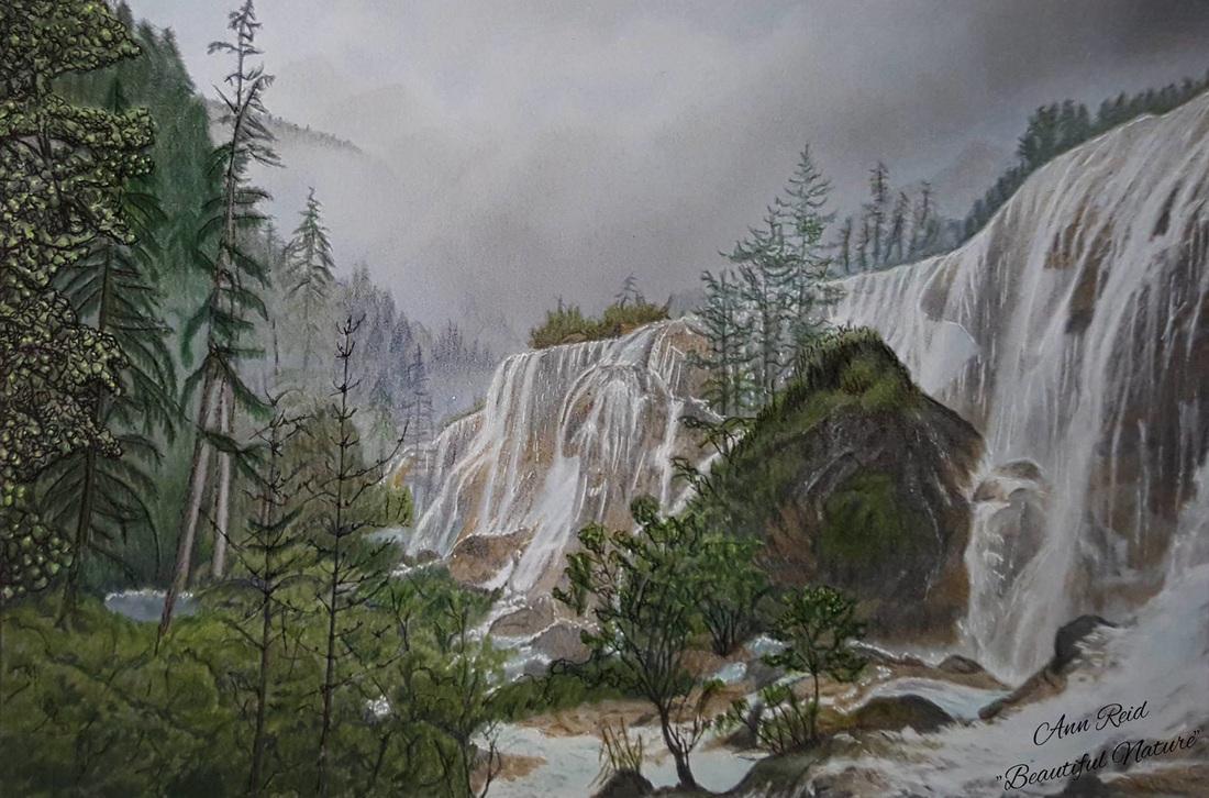 Beautiful Nature Grayscale Coloring Book Waterfall