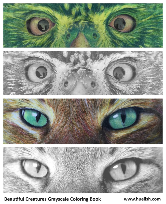 Grayscale coloring practice sheet: Eyes. From the Beautiful Creatures grayscale coloring book.