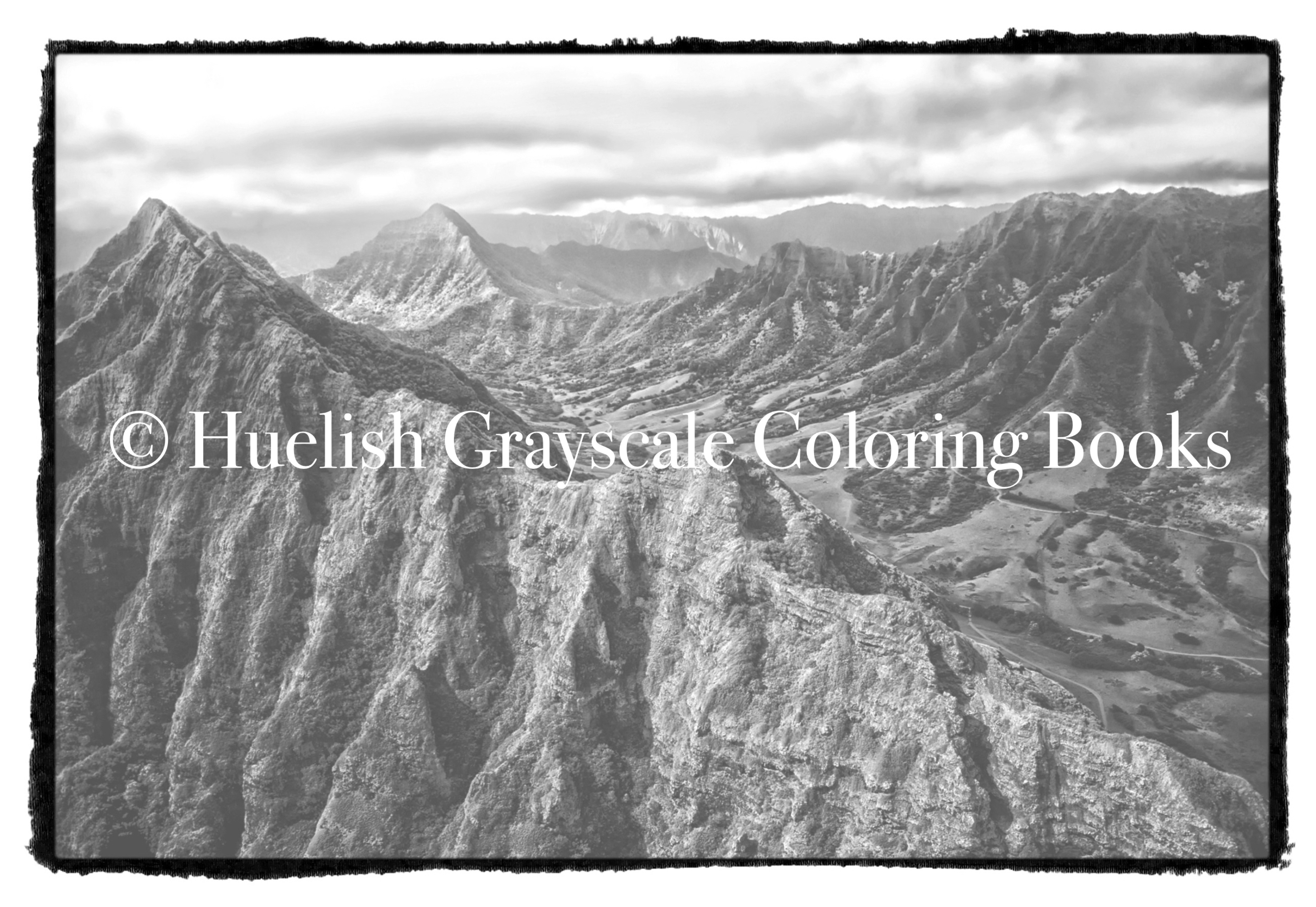 Downloadable Grayscale Coloring Page Mountain Landscape