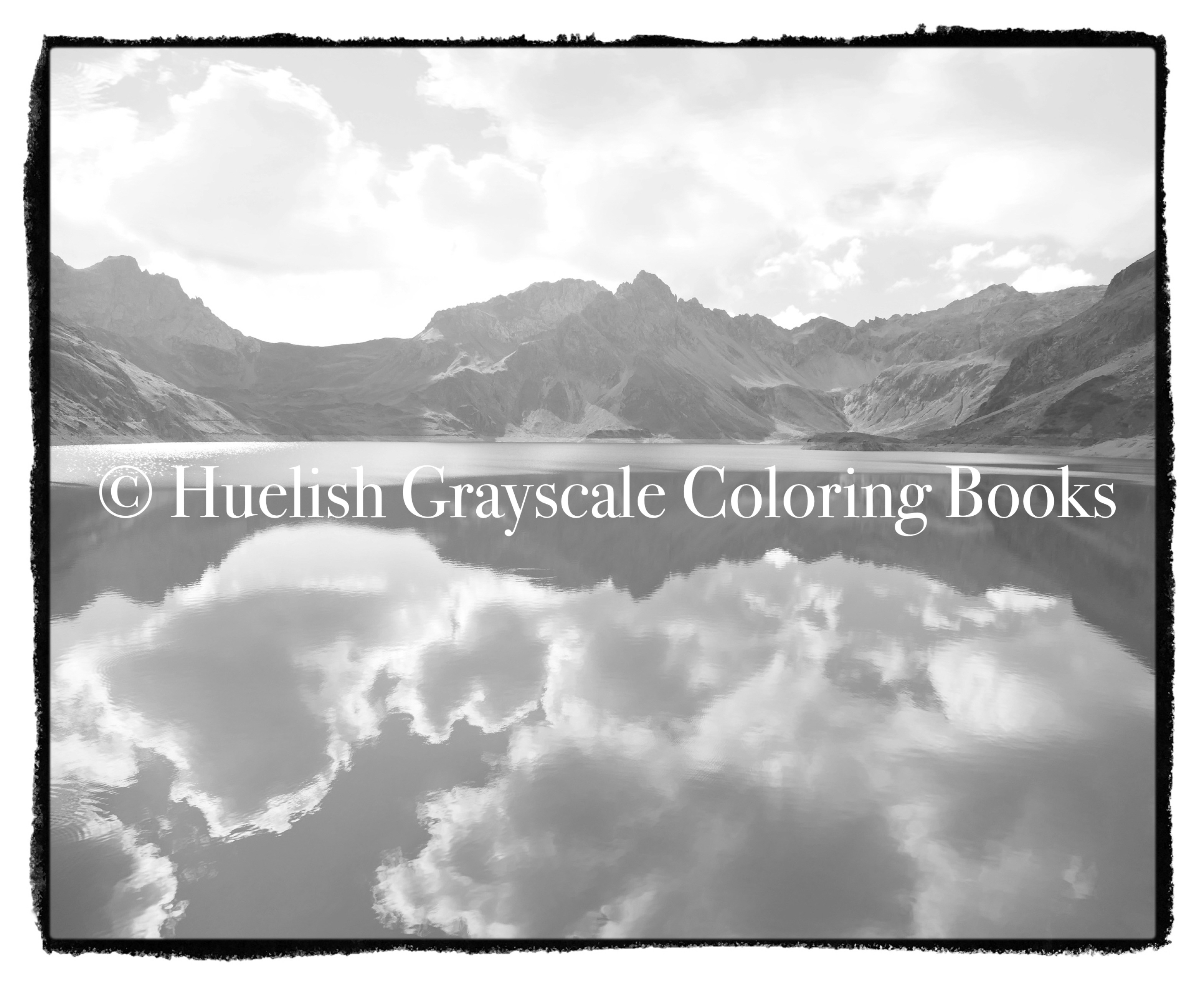 Downloadable Grayscale Coloring Page: Mountain and Lake Reflection