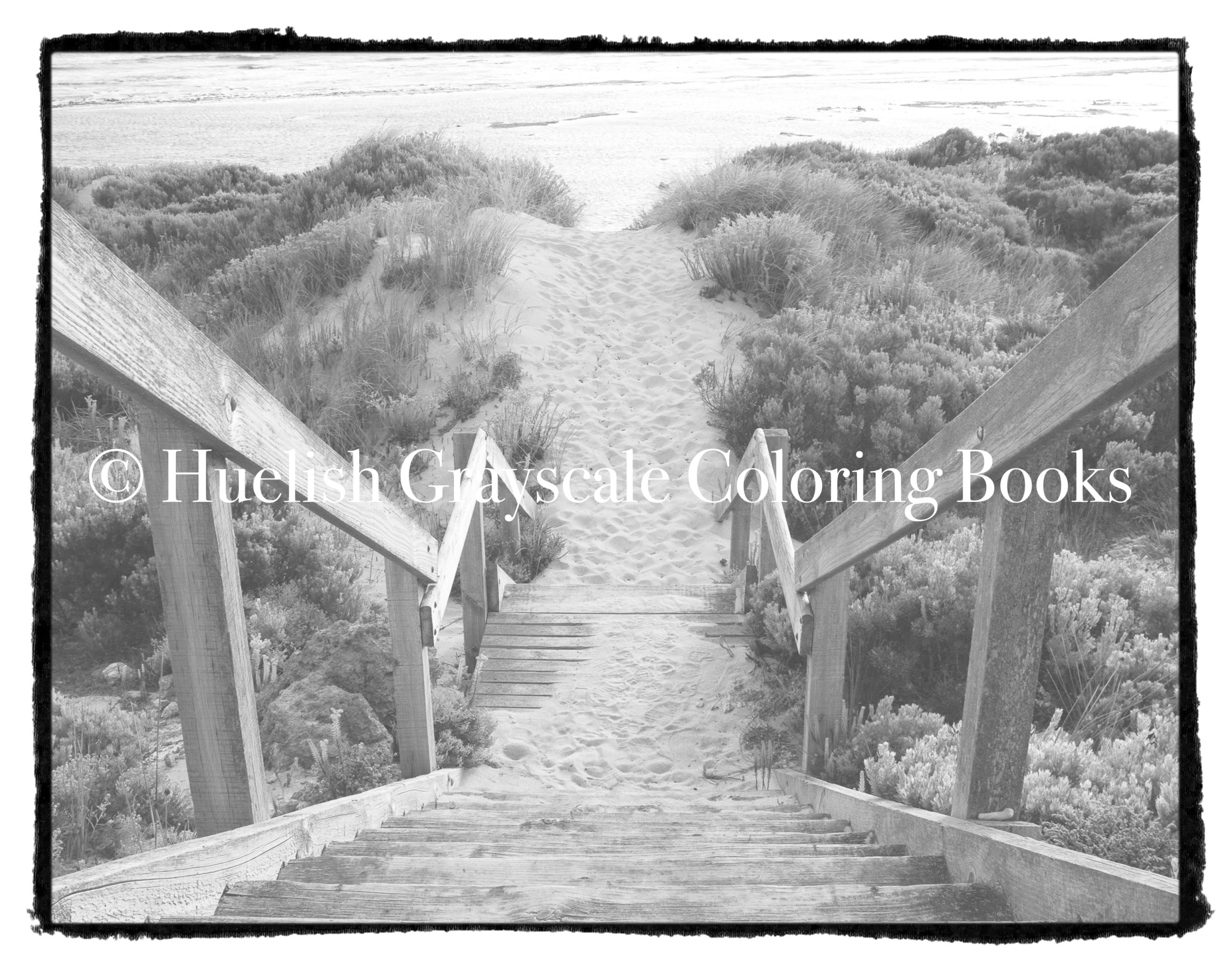 Downloadable Grayscale Coloring Page Beach Stairs