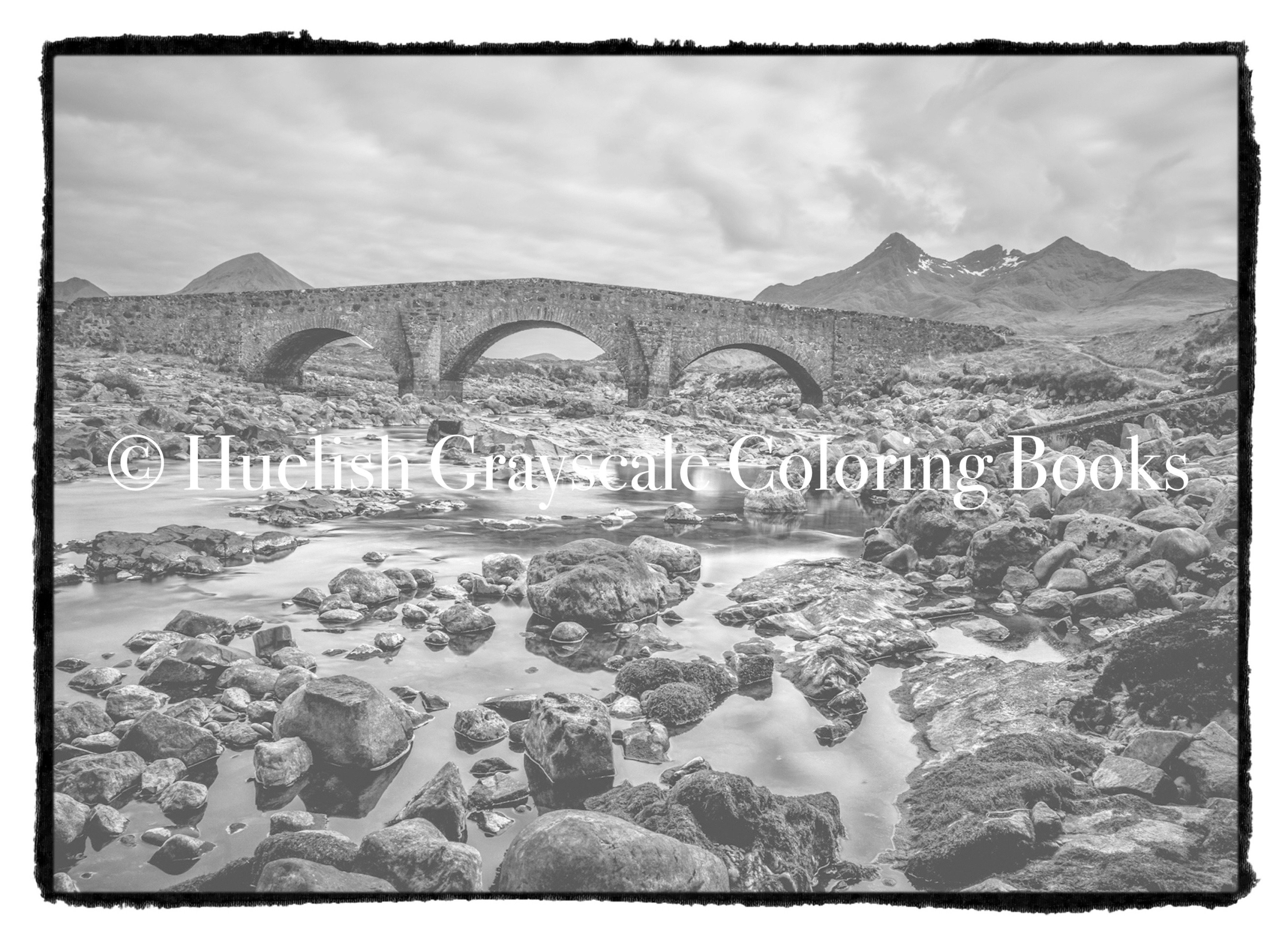 Downloadable Grayscale Coloring Page: Stone Bridge