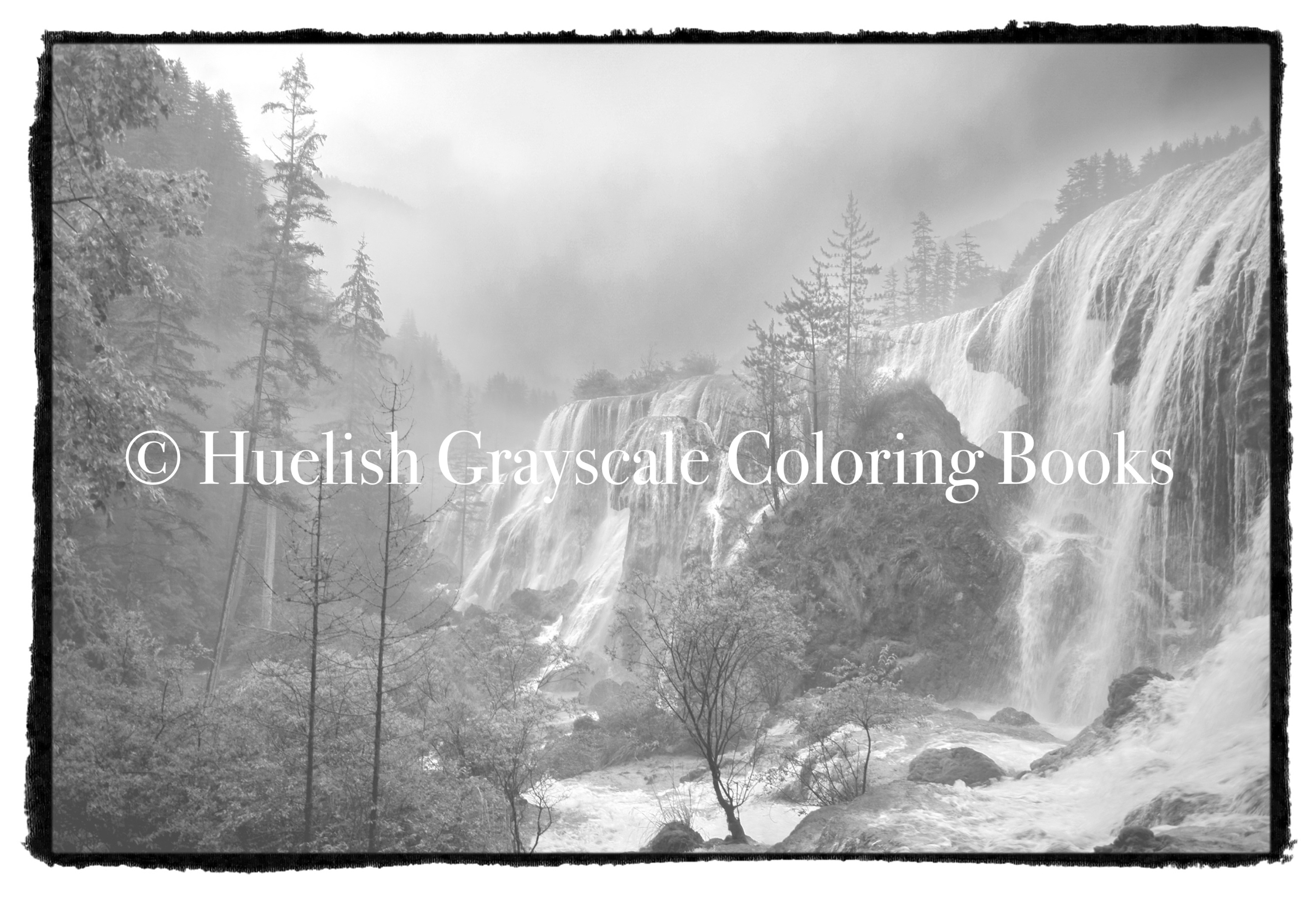 Downloadable Grayscale Coloring Page Waterfall Landscape